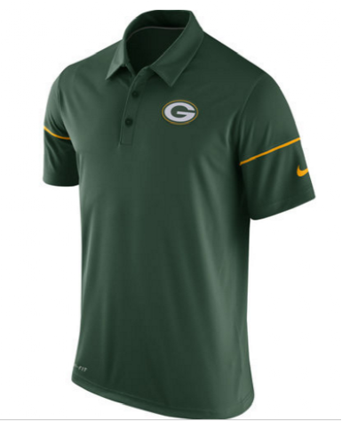 New NFL Green Bay Packers Team Issue Performance Green Polo