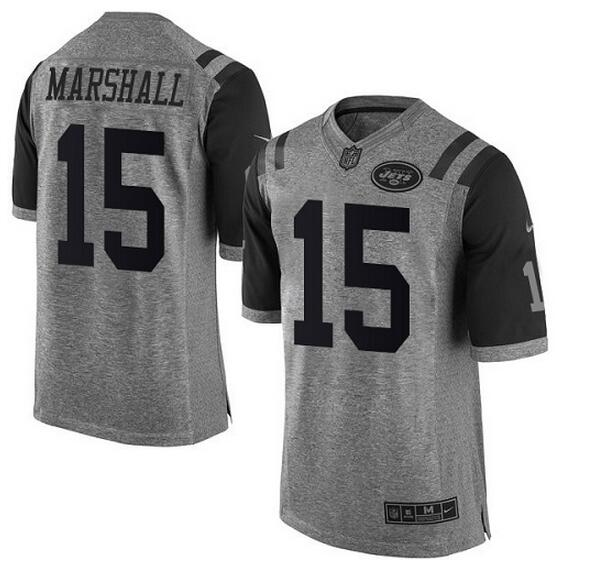 Nike Jets #15 Brandon Marshall Gray Men's Stitched NFL Limited Gridiron Gray Jersey