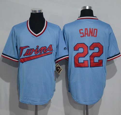 Twins #22 Miguel Sano Light Blue Cooperstown Throwback Stitched MLB Jersey